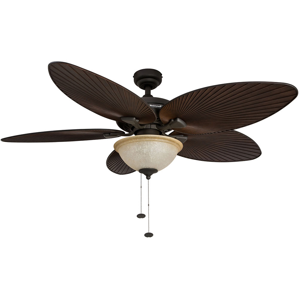 Honeywell Palm Island Ceiling Fan with Light, Bronze Finish, 52 Inch - 50202
