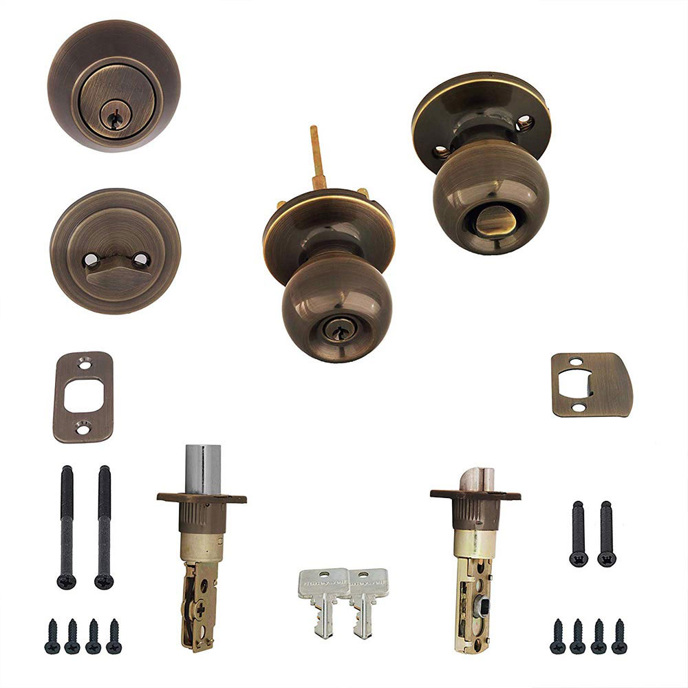 Honeywell Ball Door Knob Combo Set, Antique Brass, 8102105