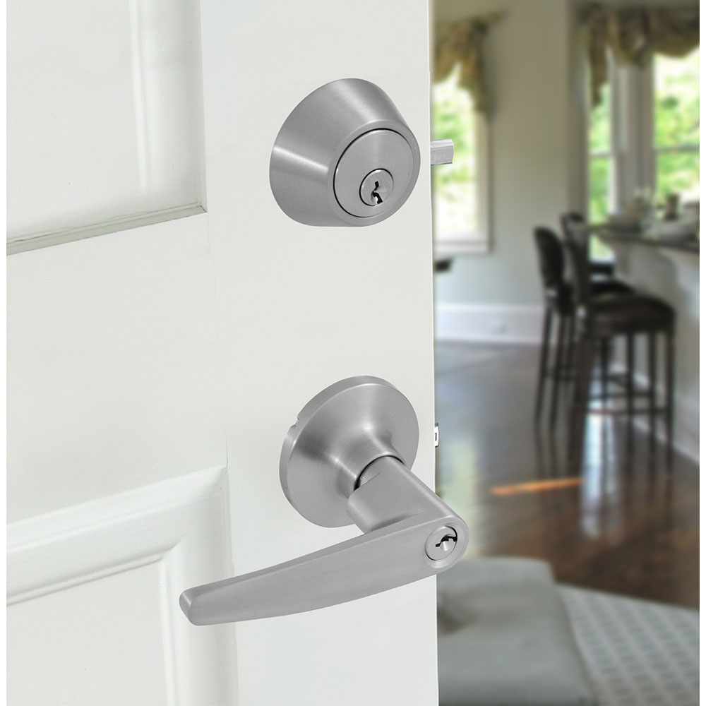 Honeywell Straight Door Lever Combo Set, Satin Nickel, 8104305