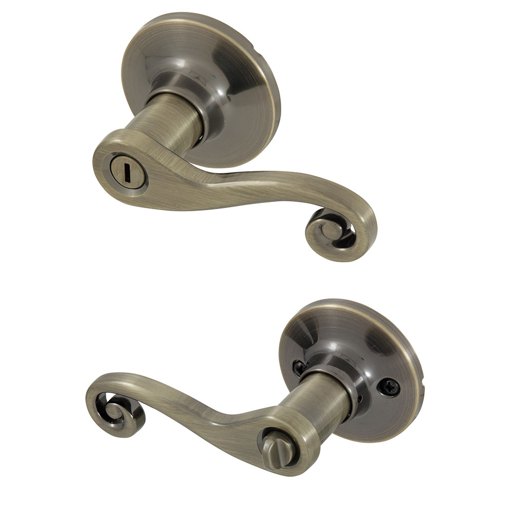Honeywell Scroll Privacy Door Lever, Antique Brass, 8108102
