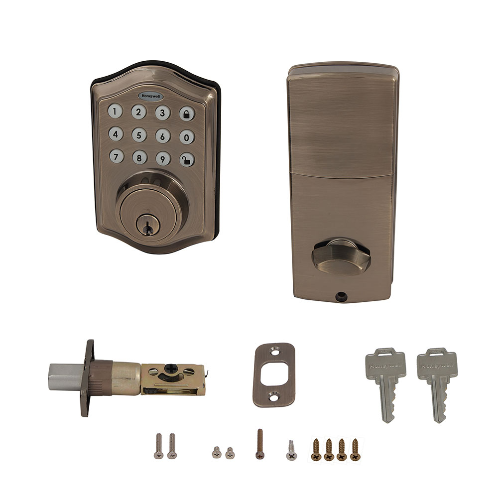 Honeywell Electronic Deadbolt Door Lock with Keypad in Antique Brass, 8712109