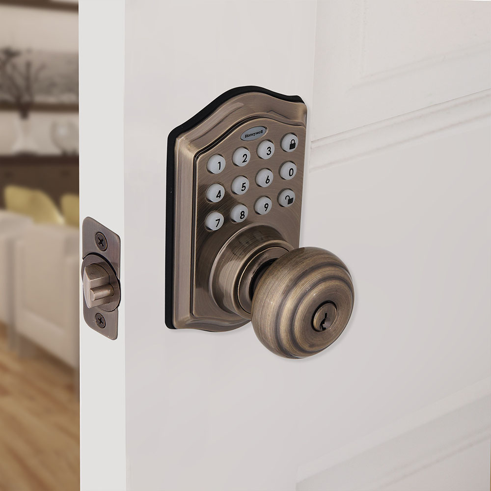 Honeywell Electronic Entry Knob Door Lock with Keypad in Antique Brass, 8732101