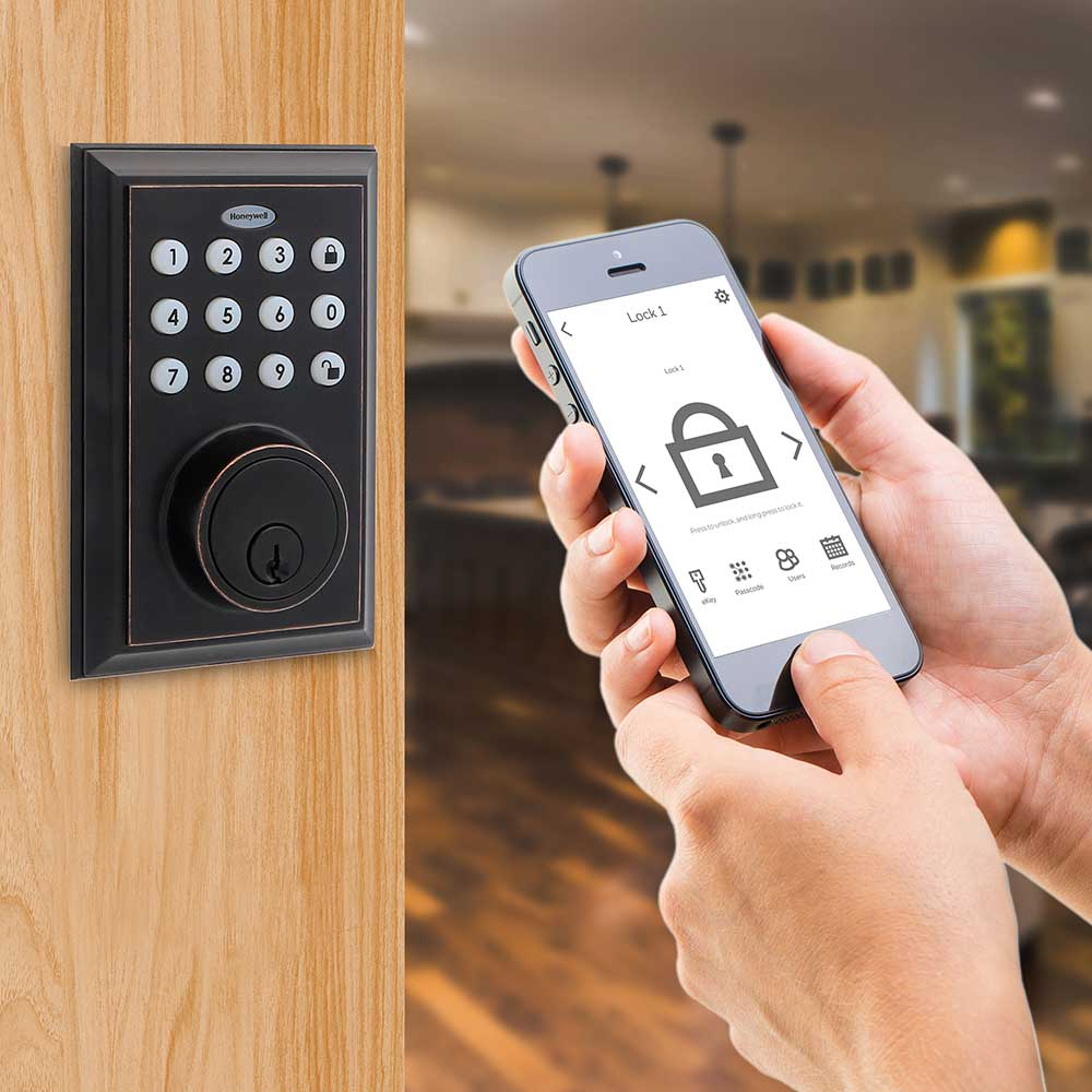 Honeywell Bluetooth Enabled Digital Deadbolt Door Lock With Keypad, Oil Rubbed Bronze, 8812409S
