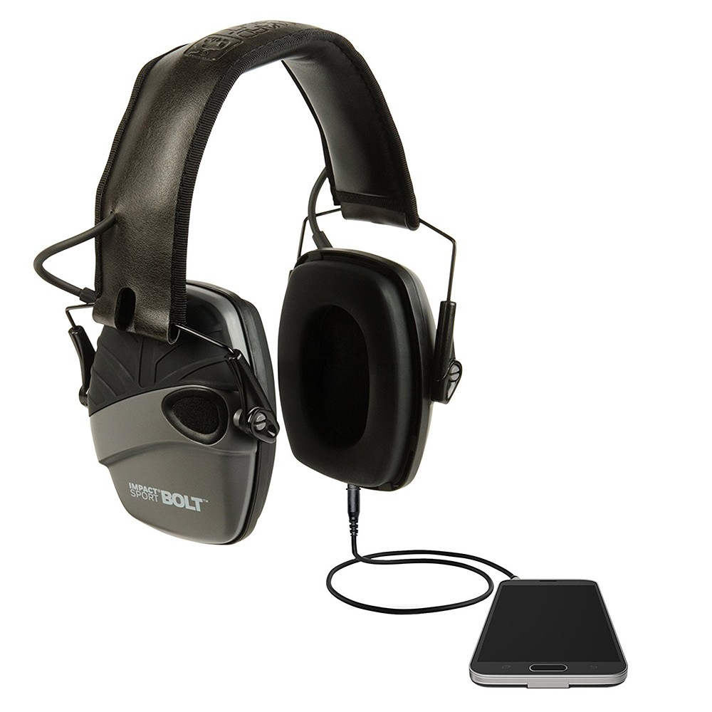 Honeywell Impact Sport Bolt Sound Amplification Electronic Earmuff, Gray - R-02232