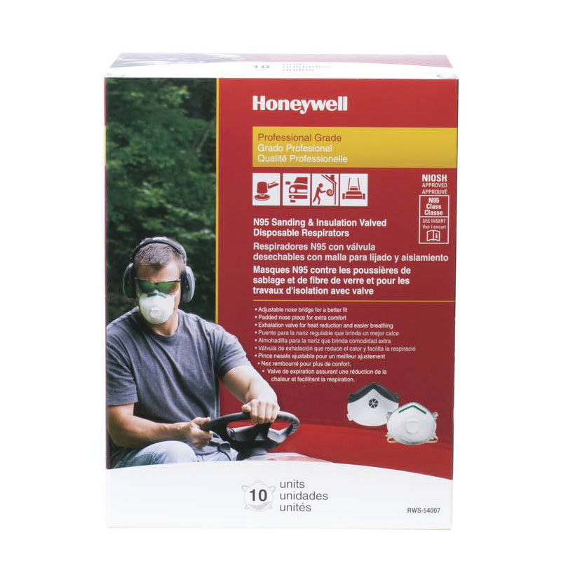 Honeywell Saf-T-Fit Plus N95 Disposable Respirator with exhalation valve, 10 per box - RWS-54007