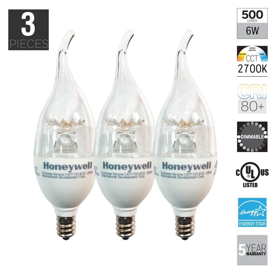 honeywell b11 candelabra chandelier led light bulbs 60w equivalent. Black Bedroom Furniture Sets. Home Design Ideas