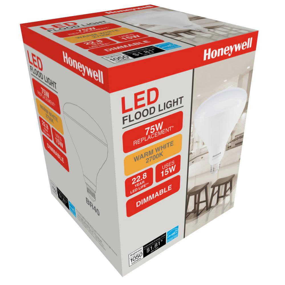 Honeywell 15W, 75W Equivalent, BR40 Dimmable LED Bulb Set, B407527HB110