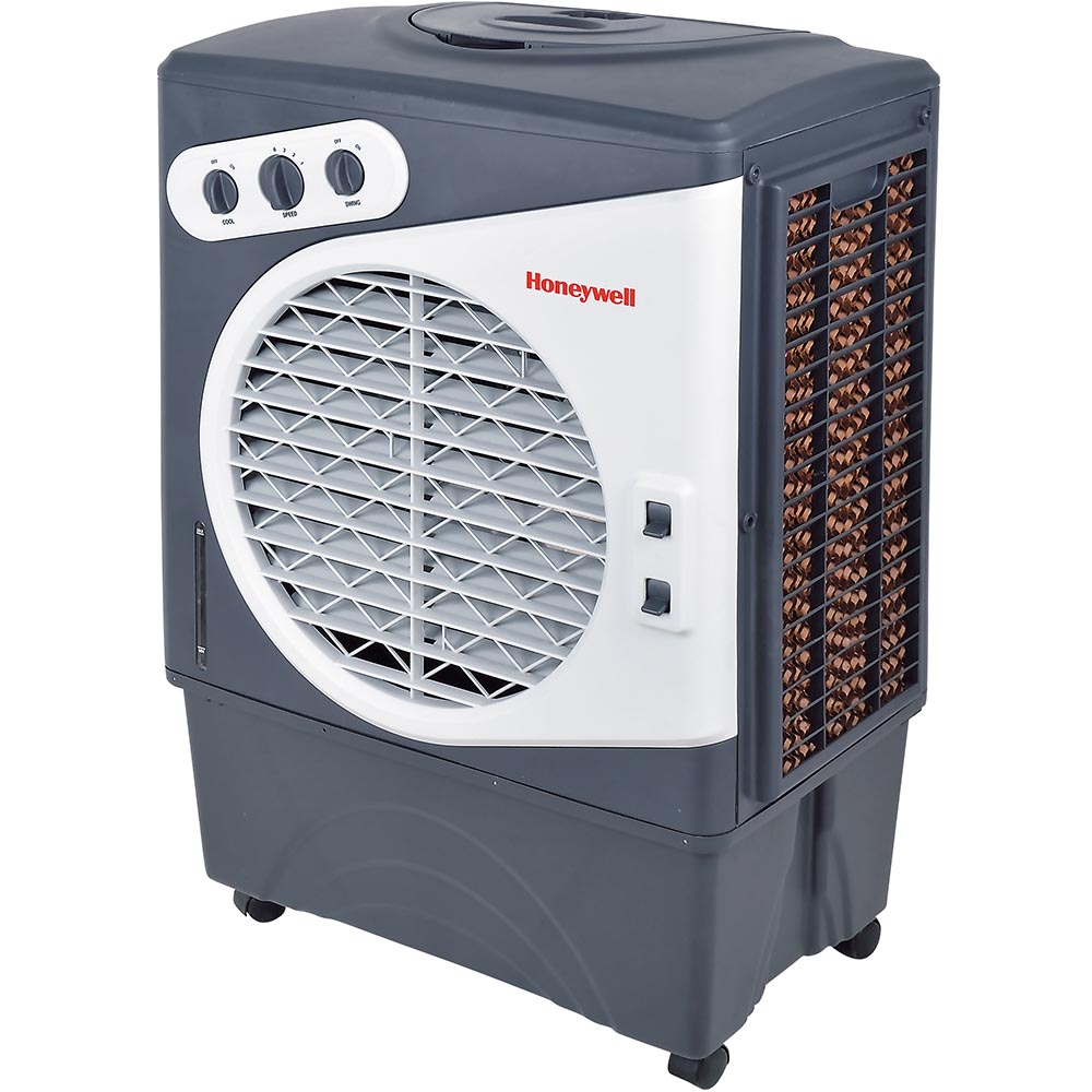 Honeywell CO60PM Evaporative Air Cooler For Indoor, Outdoor & Commercial Use, 1540 CFM - 15.9 Gallon Tank (White/Gray)
