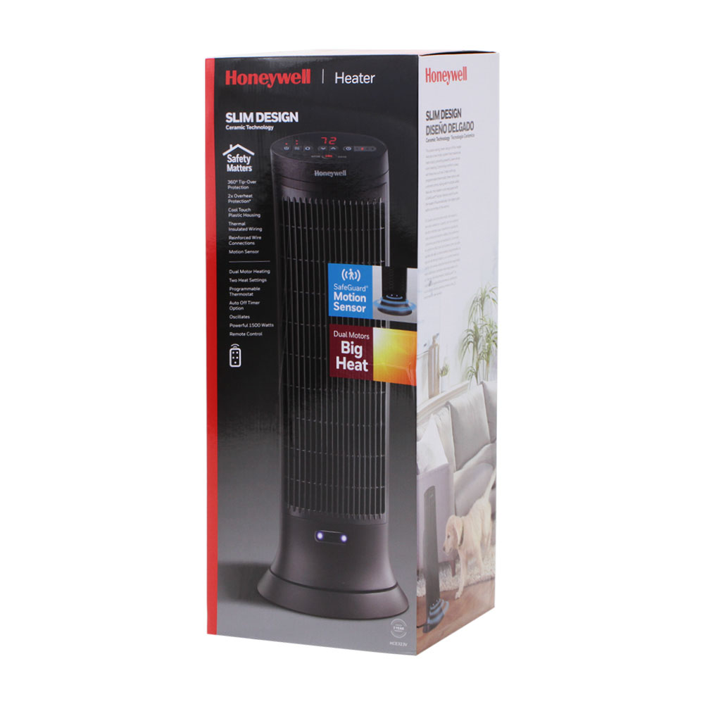 2 Pack Bundle of Honeywell Digital Ceramic Tower Heater with Motion Sensor, HCE323V