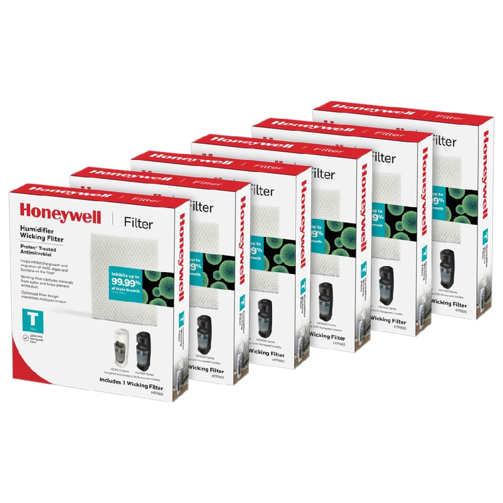 6-Pack Of Honeywell Replacement Humidifier Filter HFT600PDQ for HEV615 and HEV620 Humidifiers