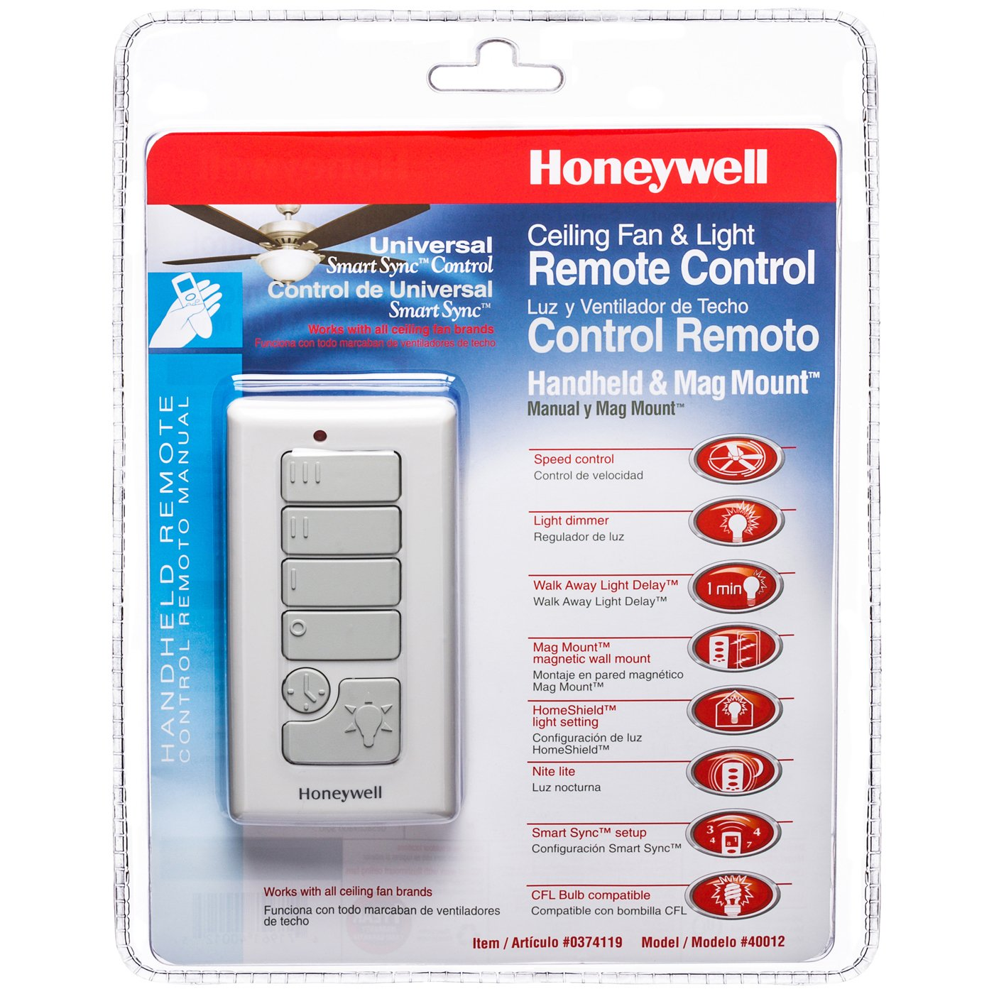 Honeywell Handheld Ceiling Fan Remote with Magnetic Wall Mount, Model 40012