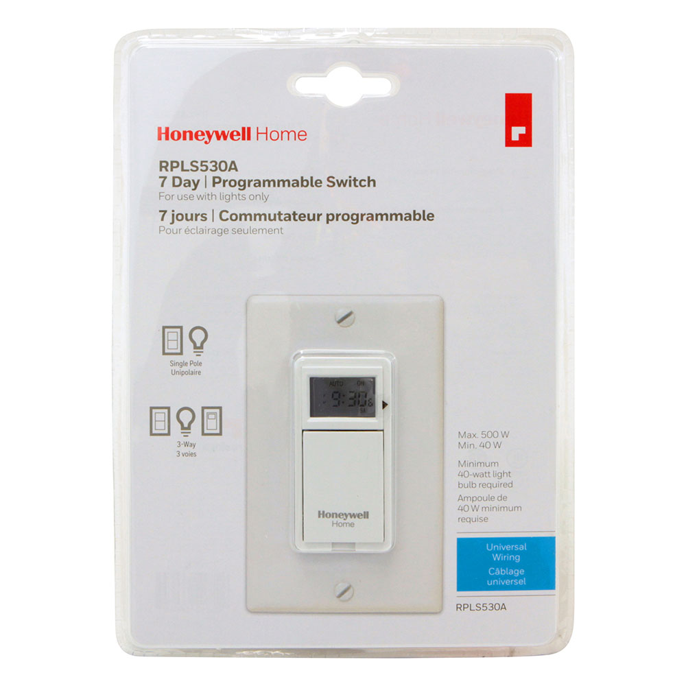 Honeywell RPLS530A1038/U 7-Day Programmable Light Switch Timer (White)
