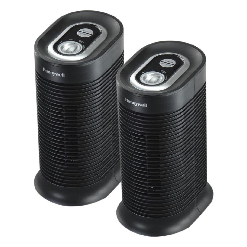 2 Pack Bundle of Honeywell True HEPA Compact Tower Air Purifier with Allergen Remover, HPA060