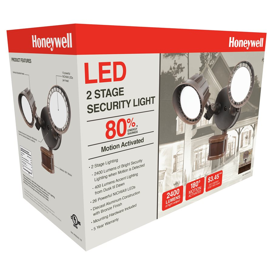 Honeywell 2-Head, 2 Stage LED Pir Floodlights, 2400 Lumens, NS0421-78