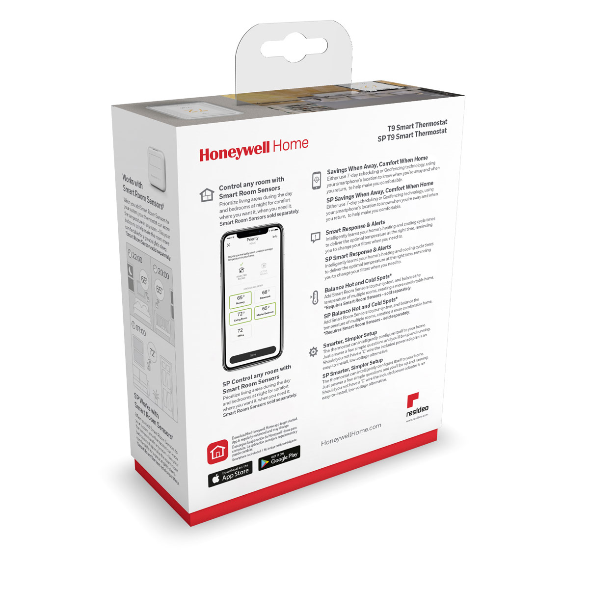 Honeywell Home T9 WIFI Smart Thermostat with RoomSmart Sensor - RCHT9610WFSW2003/W