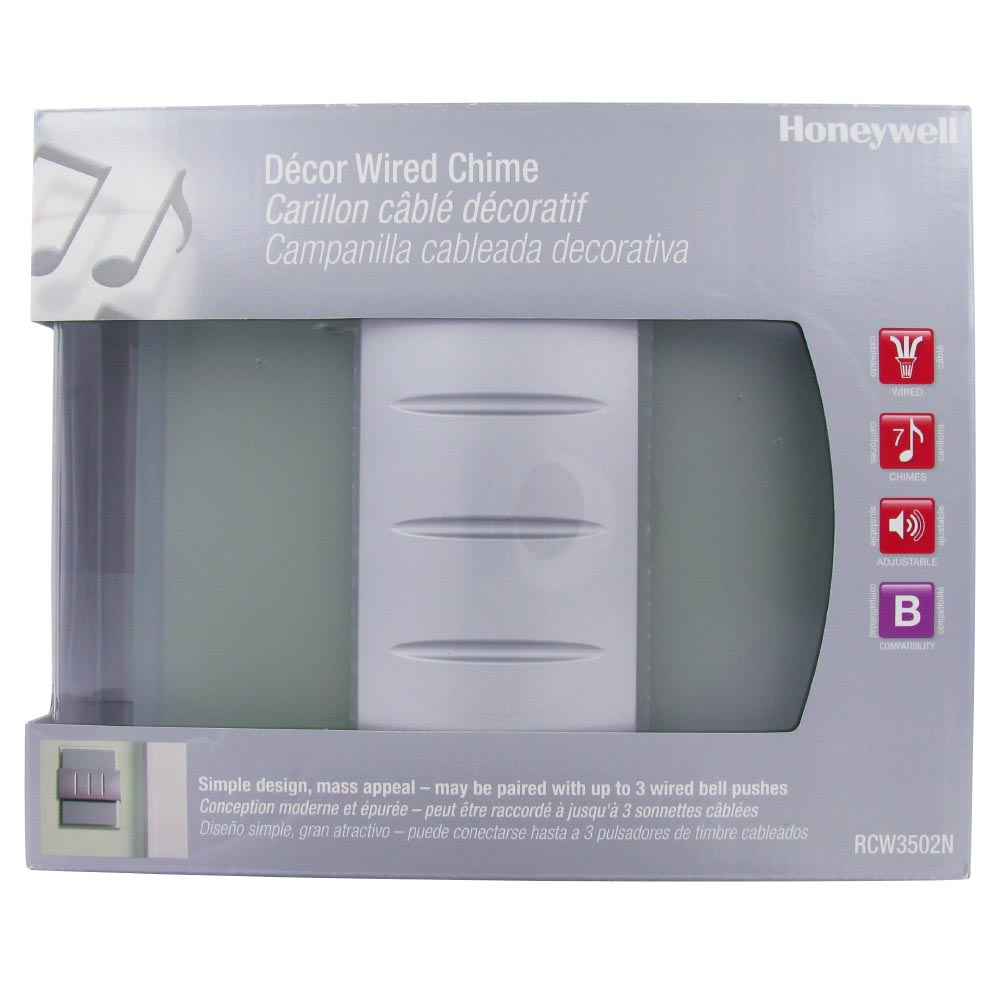 Honeywell Decor Wired Door Chime with Glass/Metal Design, RCW3502N1003/N