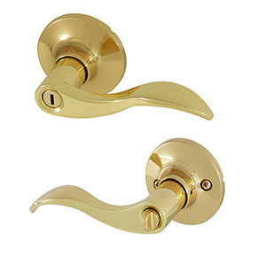 Honeywell Wave Privacy Door Lever, Polished Brass, 8106002