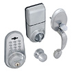 Honeywell Digital Door Knob Handleset Lock with Remote in Satin Chrome, 8632307