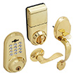 Honeywell Digital Door Lever Handleset Lock with Remote in Polished Brass, 8634007