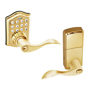 Honeywell Electronic Entry Lever Door Lock with Keypad Polished Brass, 8734001