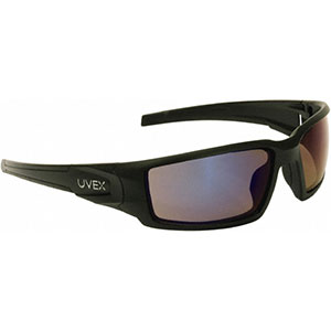 Honeywell Hypershock Shooter's Safety Eyewear, Black, Blue Mirror Lens - R-02225