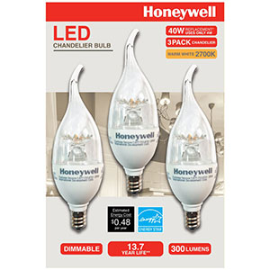 Honeywell B11 Candelabra & Chandelier LED Light Bulbs, 3 Pack, B114027HB320