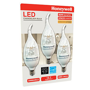 Honeywell B11 Candelabra & Chandelier LED Light Bulbs, 3 Pack, B116027HB320