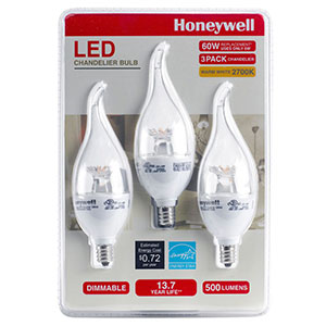 Honeywell 6.5 Watt B11 Candelabra LED Light Bulb Set (3-pack), B11MX27HB320