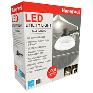 Honeywell LED Barn Light With Shade, 5000 Lumen in Slate Grey, MA095052-40